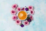 Coffee cup and flowers in heart shape - 170959172