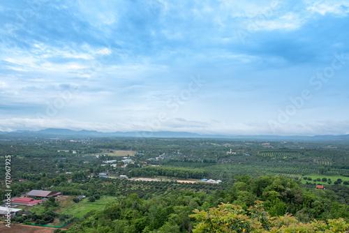Aluminium Blauwe hemel City view at temple in Lamphun, Thailand.