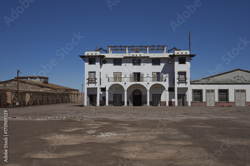 Theatre in the derelict nitrate mining town of Chacabuco in the Atacama Desert of northern Chile