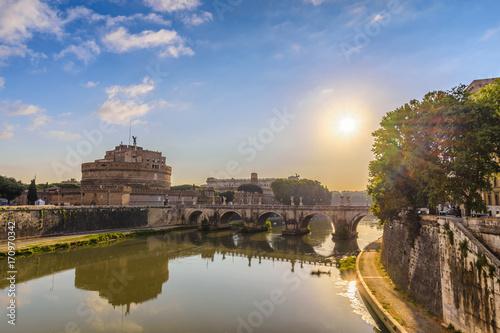 Rome sunrise city skyline at Castel Sant Angelo and Tiber River, Rome (Roma), It Poster