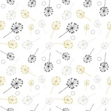 Dandelion or allium or fennel like flowers and seed pattern. Vector floral seamless repeat with simple hand drawn stylized flowers.