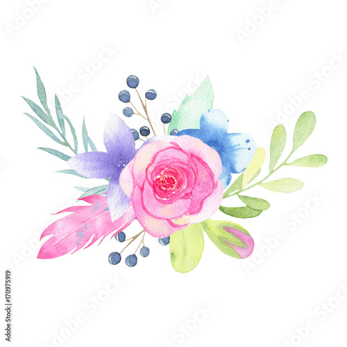 Watercolor hand painted flower wedding bouquet and leaves isolated on white background - 170975919