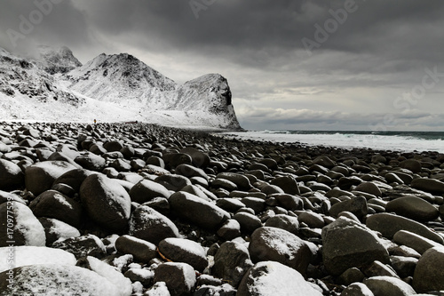 Papiers peints Noir Lofoten sea and sky