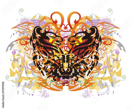Papiers peints Visage de femme Grunge colorful floral butterfly splashes. Fantastic butterfly against the background of linear patterns and decorative elements with red arrows