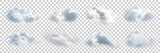 Vector set of realistic isolated cloud on the transparent background. - 170979593