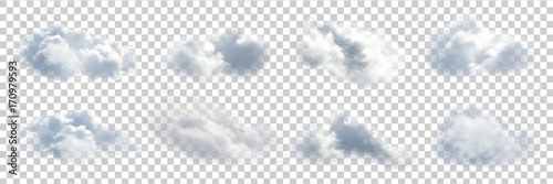 Fototapeta Vector set of realistic isolated cloud on the transparent background.