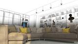 Camera da letto con libreria, sala e divano openspace, lusso, illustrazione 3d, rendering 3d - 170980752