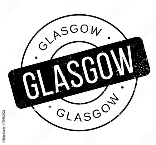 Glasgow rubber stamp. Grunge design with dust scratches. Effects can be easily removed for a clean, crisp look. Color is easily changed.