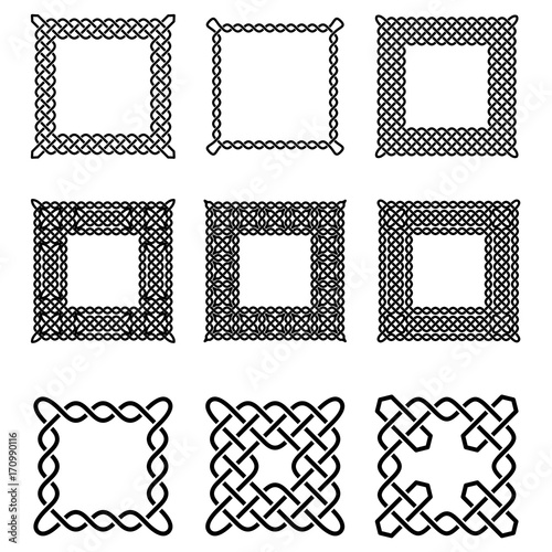 Set Of Celtic Frames Vector Ancient Pagan Scandinavian Sacred