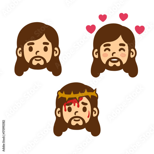 Cartoon Jesus set - 170992182