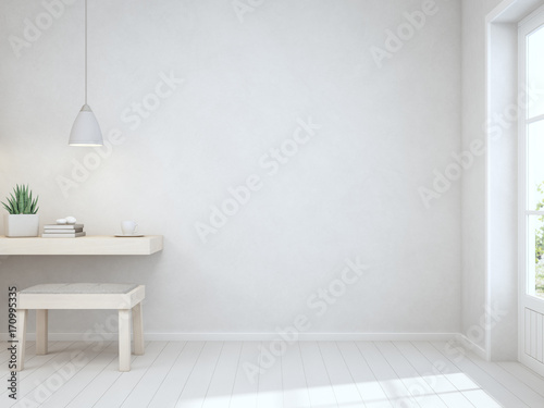 Indoor plant and coffee cup on wooden working table with empty white concrete wall background, Desk near door in bright room of modern scandinavian house - Home office 3d rendering
