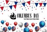 Vector illustration text Columbus Day with boat and American flag balloons design background. - 170996383