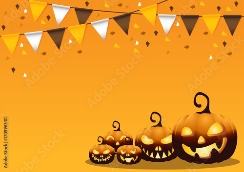 greeting card Halloween night background.Vector illustration.