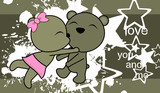 sweet love baby boy and girl kissing teddy bear cartoon background in vector format very easy to edit