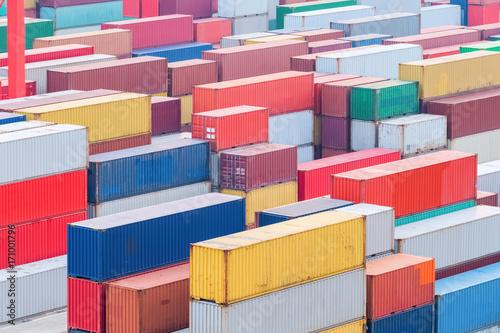Aluminium container cargo terminal closeup
