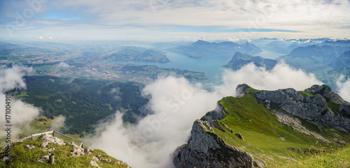 Awesome landscape over Mount Pilatus Poster