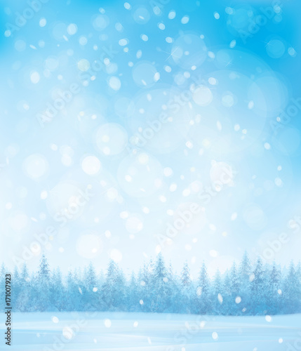 Vector winter snow scenes with forest background.