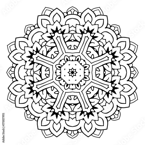 Mandala. Black and white decorative element. Picture for coloring. Decorative element in oriental style. Boho ornament.