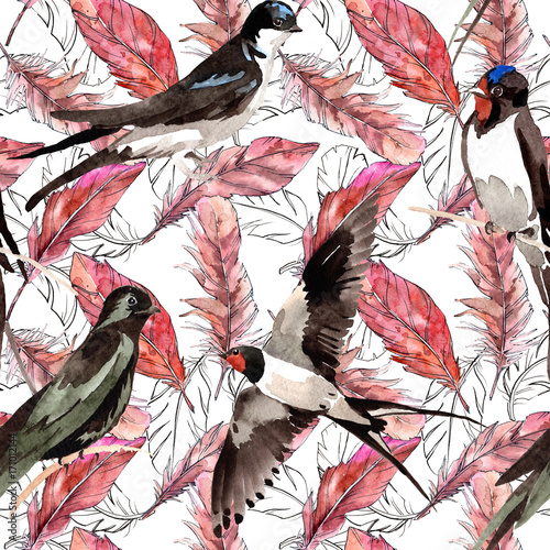 Watercolor bird feather pattern from wing. Aquarelle feather for background, texture, wrapper pattern, frame or border. - 171012144