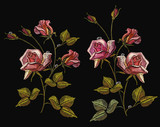 Embroidery roses, classical embroidery rose flowers with dew drops on black background. Fashion template for clothes, textile t-shirt design - 171012537
