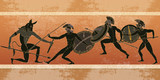 Ancient Greece banner. Black figure pottery. Hunting for a Minotaur, gods, fighter. Classical Ancient Greek style - 171012540