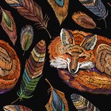 Embroidery sleeping fox and color feathers seamless pattern. Classical embroidery seamless background. Red fox sleeping in beautiful feathers. Fashionable template for design of clothes - 171012546