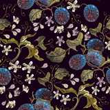 Embroidery plums branch seamless pattern template fashionable clothes, t-shirt design. Classical embroidery blossoming plum on black background - 171012549