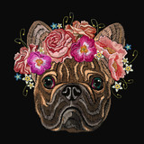Embroidery french bulldog and beautiful bouquet of flowers. Classical embroidery head bulldog, rose, peonies, fashionable design for clothes, t-shirt design - 171012569