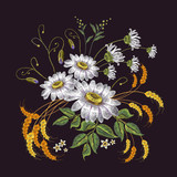 Embroidery chamomiles and wheat ears. Beautiful bouquet of chamomiles, classic embroidery flowers for clothes, t-shirt design - 171012579