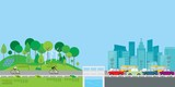 flat vector design  lifestyle  in countryside with big city concept. businessman character biking on the road