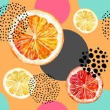 Watercolor fresh orange, grapefruit and colorful circles seamless pattern. - 171017148