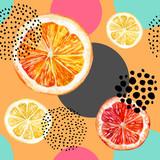 Fototapety Watercolor fresh orange, grapefruit and colorful circles seamless pattern.