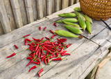 Hot chili and corn, fresh food ingredients in rural China. - 171023562
