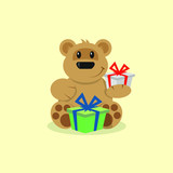 colored cartoon illustration of a bear with gifts