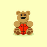 Colored illustration of an animated bear with a basketball ball