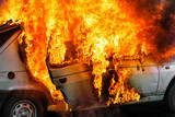 Burning car after accident