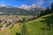 Quadro Dolomiti - Val di Fassa with Pozza village on summer