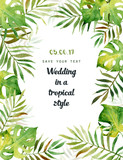Watercolor greeting card with tropical leaves. Can be used for invitations, greeting cards. - 171028746