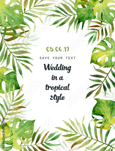 Watercolor greeting card with tropical leaves can be used for watercolor greeting card with tropical leaves can be used for invitations greeting cards m4hsunfo