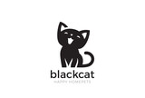 Black Cat sitting Logo vector. Home pet veterinary clinic icon