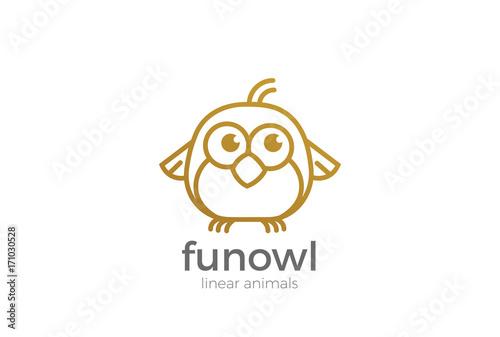 Fotobehang Uilen cartoon Funny Owl abstract Logo design vector template Linear style