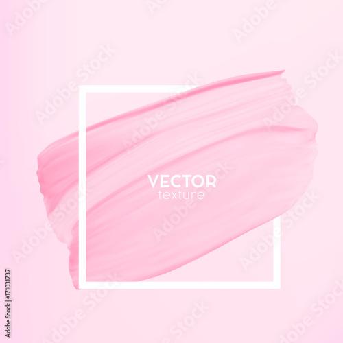 Pastelowe streszczenie różowy rozmaz w ramce na białym tle na tle. Elegancja i subtelny szablon projektu dla mody, studio paznokci, wizażystka, logo salonu ślubu