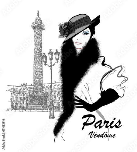 Tuinposter Art Studio Fashion model nearby Vendome column in Paris
