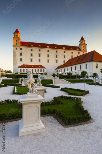 Reconstructed historical baroque garden in Bratislava castle complex, Slovakia Poster