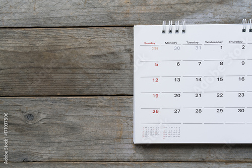 close up of calendar on the table for planner,business,organization,management schedule, calender concept Poster