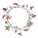 Watercolor forest wreath or garland with sprig - 171038121
