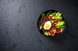 Red Quinoa Poke Bowl with Avocado, Egg and Tomatoes - 171038542