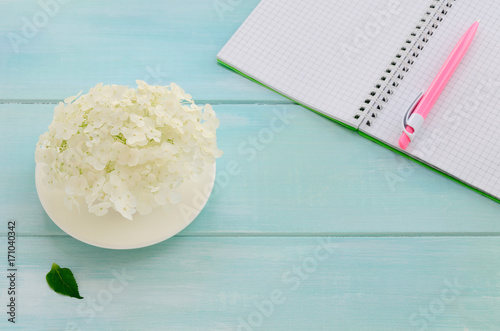 Aluminium Hydrangea Open notebook with pink pen, coffeecup and hydrangea