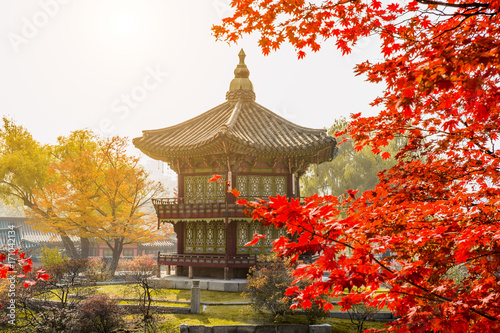 Autumn in Gyeongbokgung Palace, Seoul in South Korea. Poster