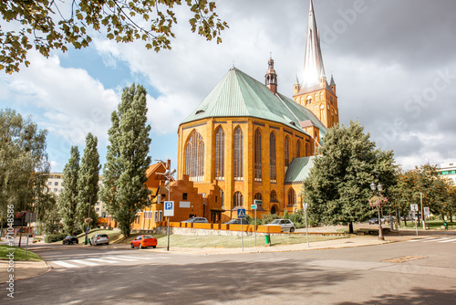 View on the cathedral of saint James the Apostle in Szczecin, Poland